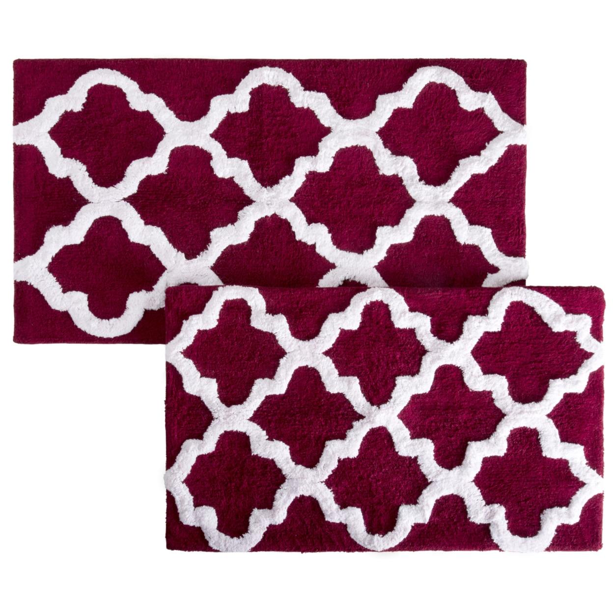 Lavish Home 100% Cotton 2 Piece Trellis Bathroom Mat Set - Burgundy (3)