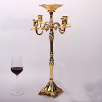 Gold plated flower bowl included candle stick floor candelabra 83cm tall metal candle holder wedding candelabrum