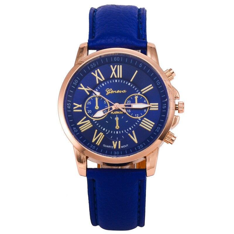Horloges Vrouwen quartz watch MenGeneva Roman Numerals Faux Leather Analog wrist  color unisex clock Ladies Watch faux leather quartz wrist watch