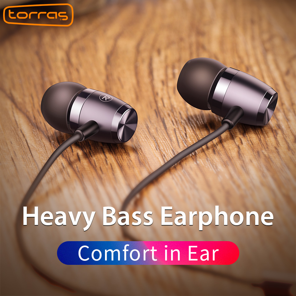 Torras Heavy Bass Earphone For iPhone In-ear 3.5mm Volume Control Headset Universal Earphones with Microphone For Samsung Xiaomi