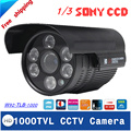 """Más nuevo 1/3 """"sony ccd cctv cámara hd 1000tvl impermeable al aire libre cámara de infrarrojos de visión nocturna de seguridad"""