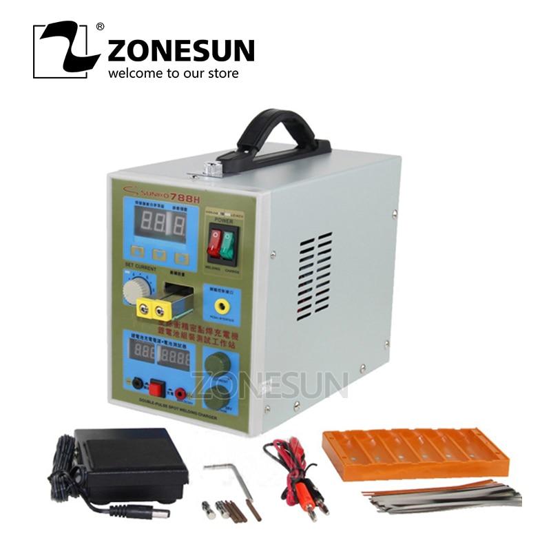 ZONEUN импульса Батарея точечной сварки 788 H сварочный аппарат микро компьютер Батарея Зарядное устройство 800 0,1 0,2 мм 36 В с светодио дный свет