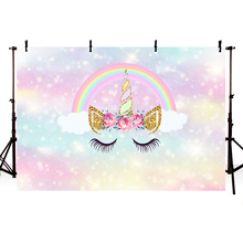Mehofoto Unicorn backdrop Newborn Birthday Party Decoration Jungle Crown Circus Donuts Mermaid Background for Photo Booth Studio