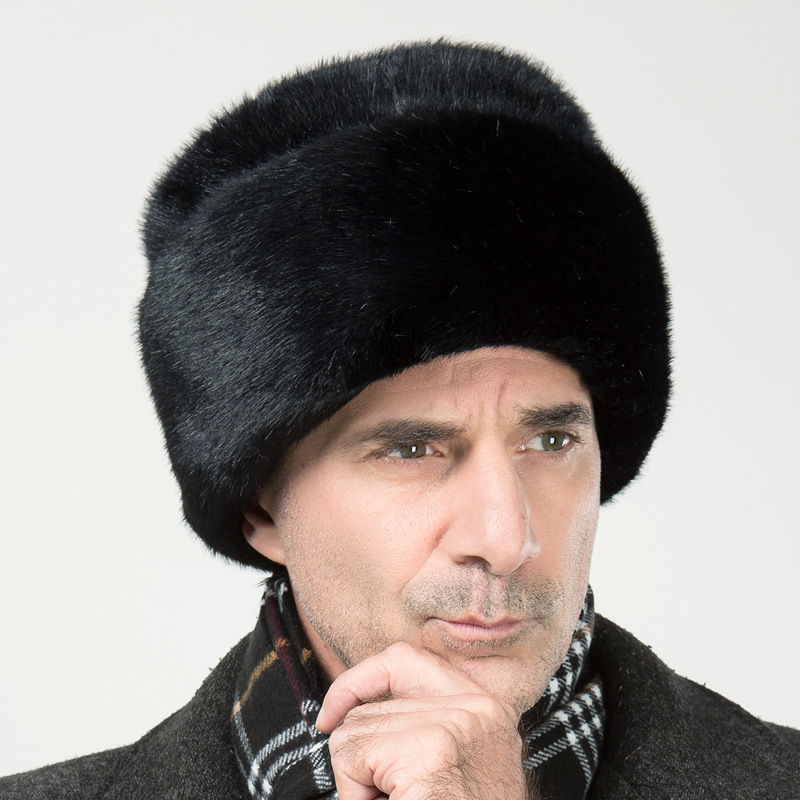 Mens Winter Hats Dad Russian Ushanka Hats Winter Protector Ear Cap Bomber Aviator Black Fur Russian  Army Fashion Mink Caps(China)