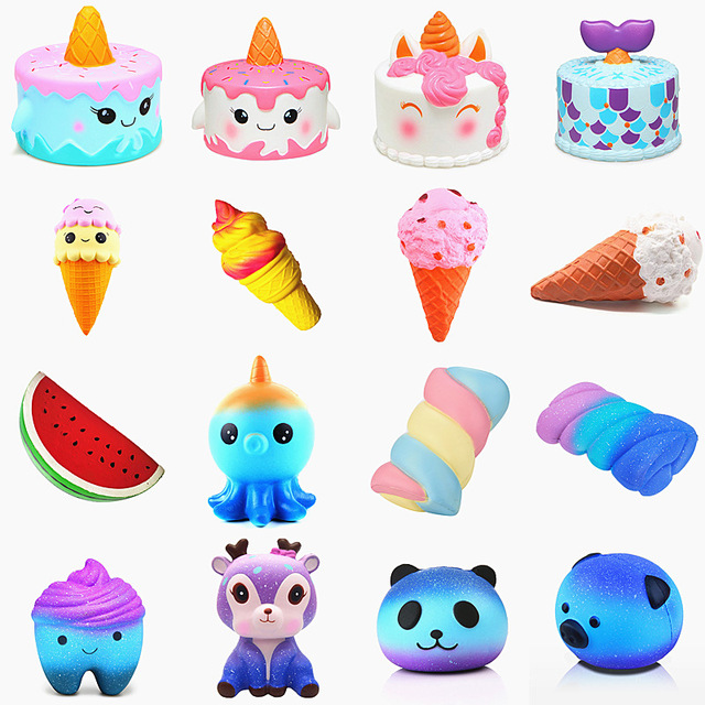 Anti-stress Cute Squishy Slow Rising Galaxy Deer Poo Bread Hamburger Coffee Strawberry Ice Pu Squishy Toys Squeeze Squishes Toy