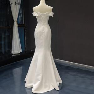 Image 4 - Branco barco pescoço cetim sexy vestidos de noite 2020 de alta qualidade fora do ombro vestido formal simples foto real 66833