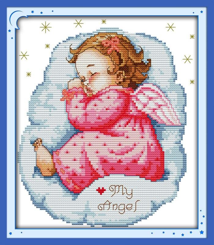 Вышивка младенец с ангелом