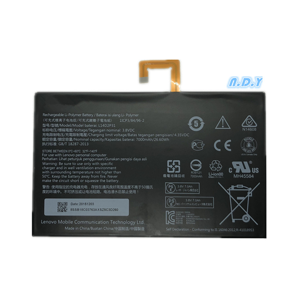 L14D2P31 Battery For Lenovo  Tab 2 A10-70  Tab 2 A10-70F NEW  26.6WH