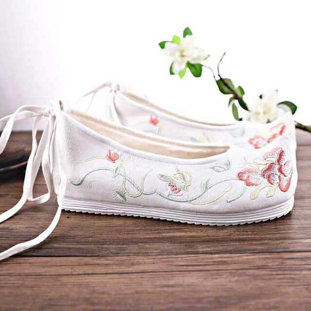 Vintage Frauen Schuhe Chinesische Gestickte Schuhe Hanfu Schuhe Elegante Verzogen-kopf Erhöhte Interne Alte Ankle Strap Schuhe QiLuo