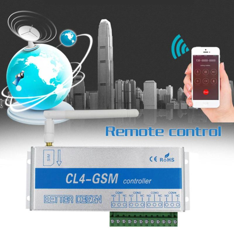 CL4-GSM 4-Way Mobile Phone Remote Control Switch Controller Relay Intelligent Switch Phone SMS Pump Remote Control Switch sonoff g1 wifi switch gprs switch gsm mobile phone remote controller water pump lights outdoor use