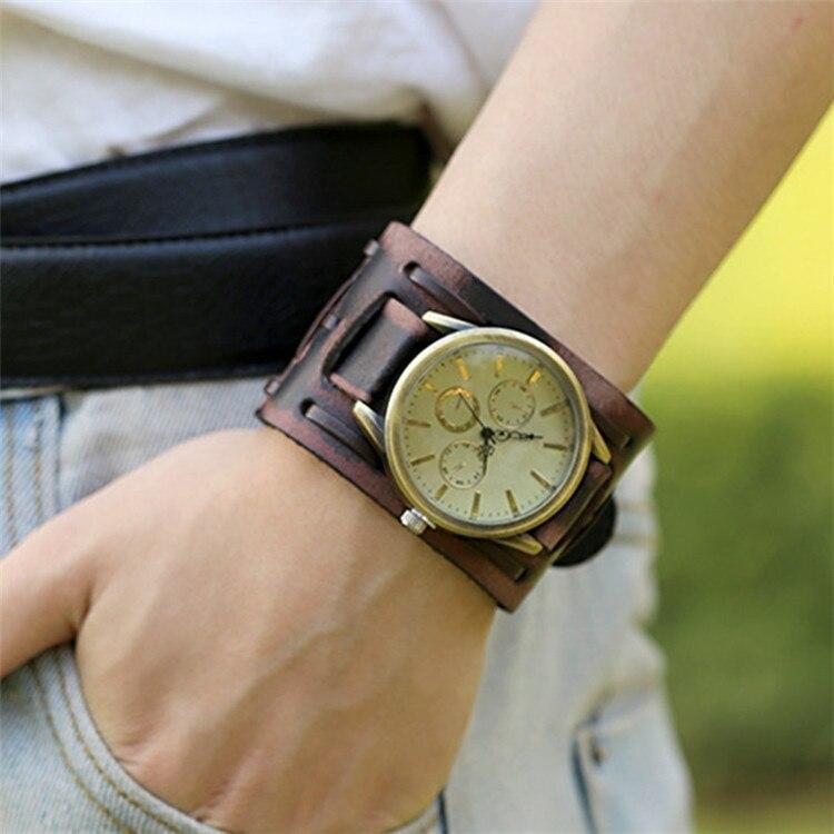 moda atractiva tienda del reino unido el precio más baratas € 8.19 |Gnova platino movimiento japonés Vintage Punk cuero genuino pulsera  reloj de pulsera Banda ancha reloj de cuarzo hombres A361-in Relojes de ...