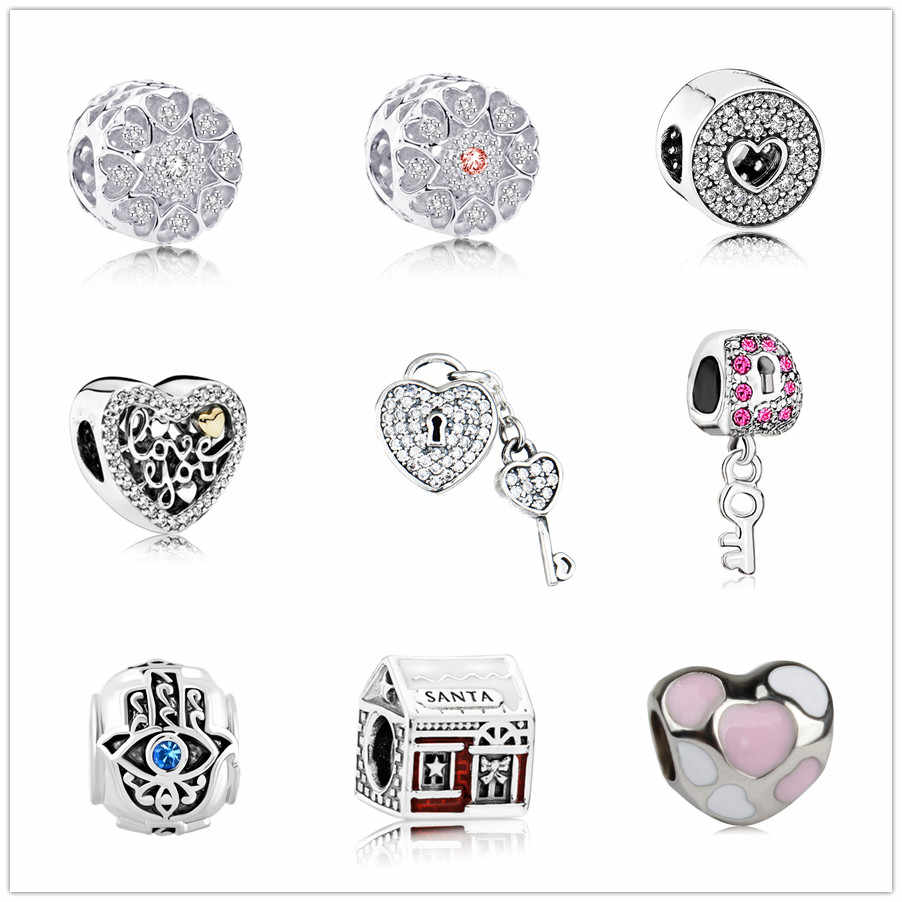 european new 1pc love crystal  bead key eye house charms Fit Pandora Charms Bracelet for women men diy jewelry EL121
