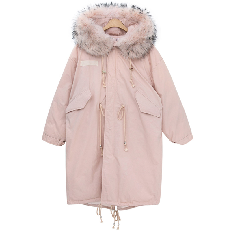 Winter Jacket Women New 2018 Coats Artificial raccoon hair collar Female   Parka   Pink Thick Cotton Padded Lining Ladies Tops