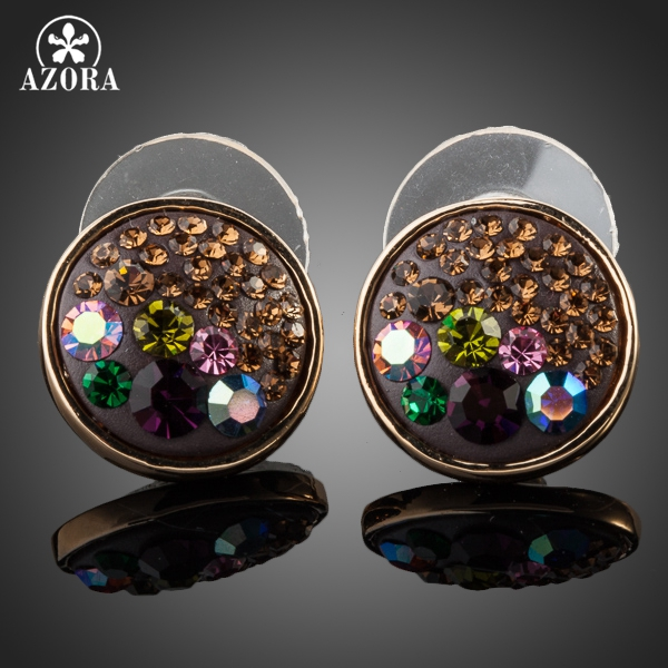 AZORA Gold Color Multicolour Stellux Austrian Crystal Round Stud Earrings TE0059 ...