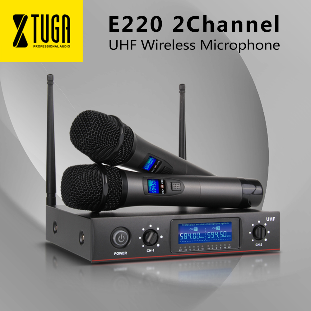 XTUGA E220 Wireless Microphone XIAO MI UHF two Channel Cordless  System Whole Metal 2 Mic party Karaoke Stage Top QualityXTUGA E220 Wireless Microphone XIAO MI UHF two Channel Cordless  System Whole Metal 2 Mic party Karaoke Stage Top Quality