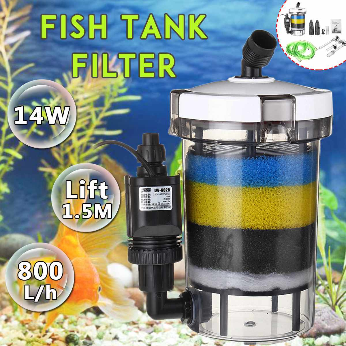 Aquarium Filter Fish Tank Filter Ultra quiet External Aquarium Filter Bucket 220 240V EW 604 EW 604 B Aquarium Sponge Accessory