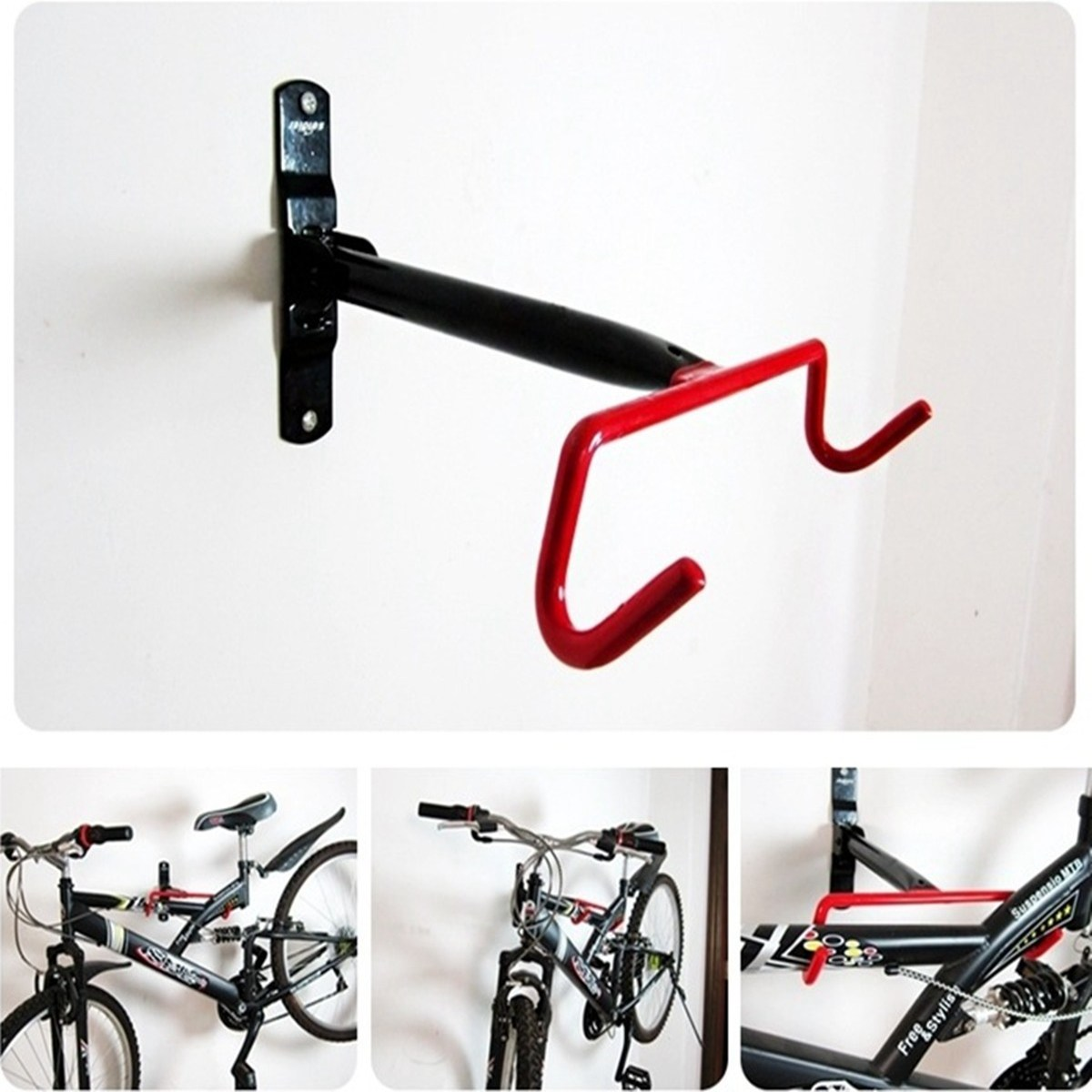 convenient practical bicycle wall rack bike frame display wall mounted bike hanging tool cargo. Black Bedroom Furniture Sets. Home Design Ideas