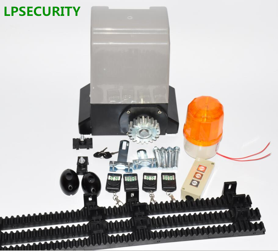 LPSECURITY 4m or 5m nylon racks 800kg automatic sliding gate opener motor with 4 remote controls with optional partsLPSECURITY 4m or 5m nylon racks 800kg automatic sliding gate opener motor with 4 remote controls with optional parts