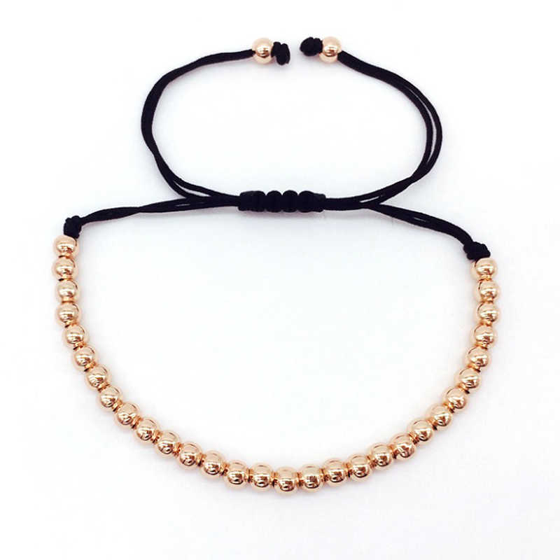 NAIQUBE 2017 Fashion High Quality Brand 4mm Copper Round Beads Braided Macrame Men Bracelets & Bangles For Jewelry Gift