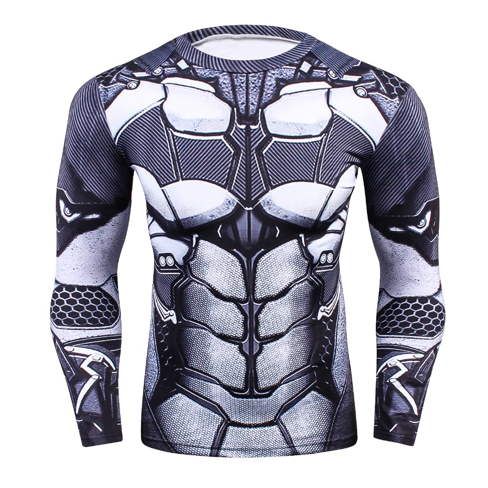 Mens MMA Fitness Rashguard Tight T Shirt Fashion 3D Ironman Long Sleeve Compression T-Sh ...