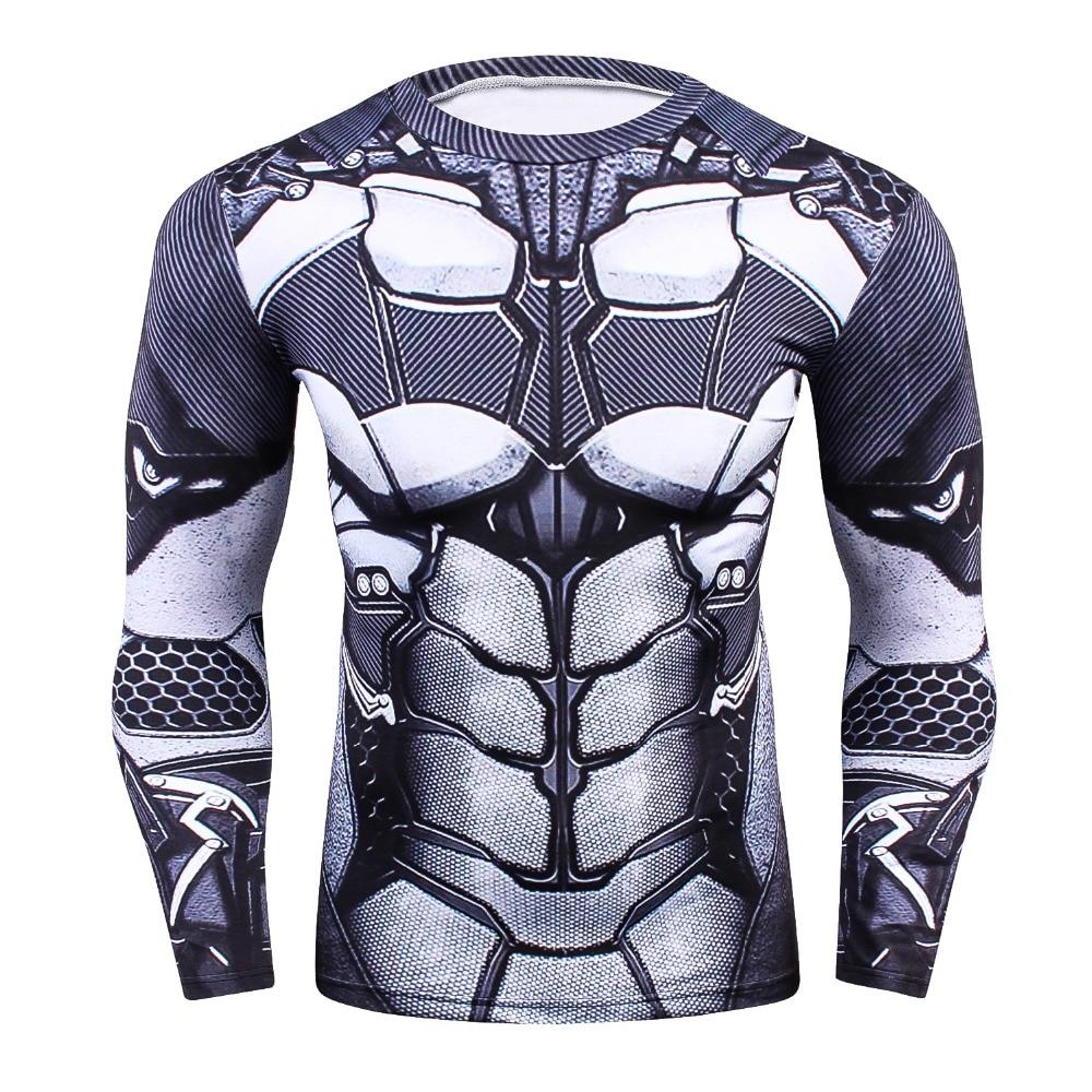 Mens MMA Fitness Rashguard Tight T Shirt Fashion 3D Ironman Long Sleeve Compression T-Sh ...