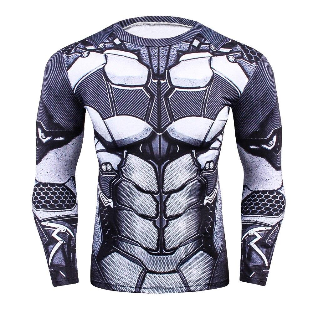Mens MMA Fitness Rashguard Tight T Shirt Fashion 3D Ironman Long Sleeve Compression T-Shirt Men Bodybuilding Crossfit Clothing