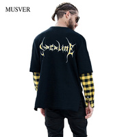 MUSVER Plaid Patchwork Long Sleeve T Shirts Men 2017 Autumn Letter Printed Pullover Cotton Hip Hop