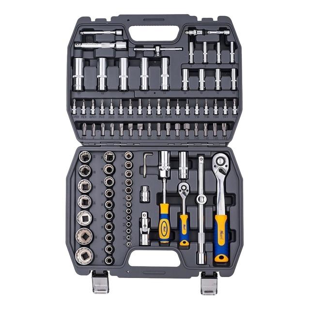 Набор ручного инструмента KRAFT КТ 700682 (94 предмета, торцевые головки. удлинители, кейс)