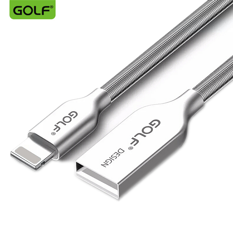 GOLF 100 CM 3FT Zinklegering Metallfjäder USB Data Sync Telefonladdarkabel Snabbladdning för iPhone 5 5s 7 8 6 6s Plus SE X MAX XR