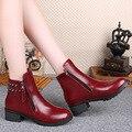 Nuevas botas de invierno zapatos gruesas con cremallera lateral redonda Martin botas mujeres tamaño 35-39 C028