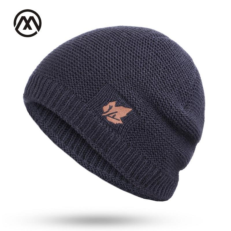 Knit Hats Winter Caps Velvet Skullies Loose Outdoor Women's Brand Warm Ski-Male-Bone
