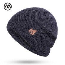 Новые зимние вязаные шапки для мужчин и женщин, уличные теплые утолщенные бархатные свободные зимние шапки Skullies, брендовые зимние лыжные мужские шапки