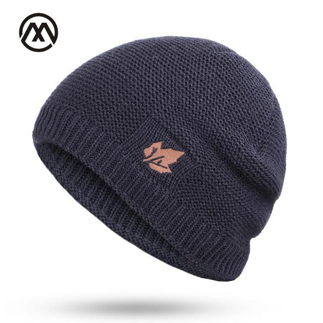 New winter knit hats men's and women's outdoor warm thickening plus velvet loose winter caps Skullies brand winter ski male bone