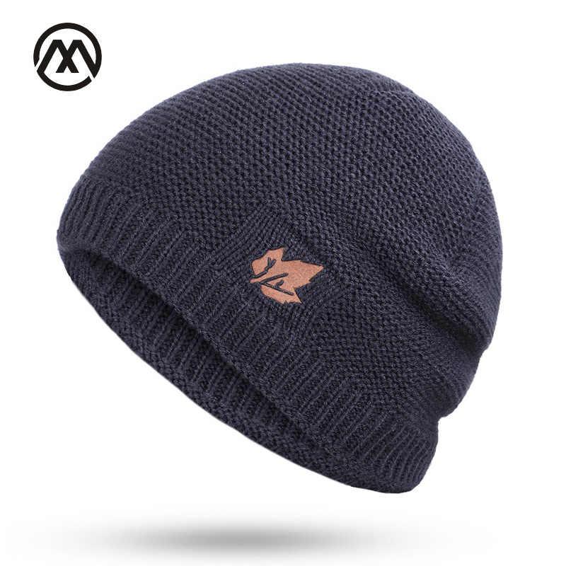 7d02d1e496 New winter knit hats men's and women's outdoor warm thickening plus velvet  loose winter caps Skullies