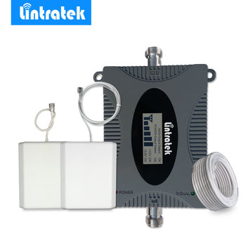 Lintratek 4G LTE Repeater 2600MHz LCD Display Cellular Signal Booster Mini Size FDD 2600 4G Mobile Signal Amplifier Antenna Set@