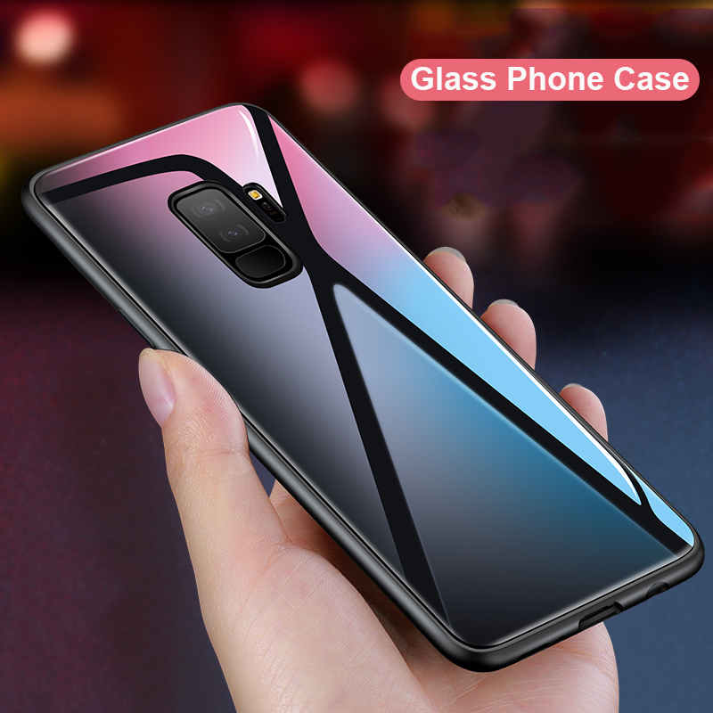 Suntaiho Glass Case for samsung s9 case TPU Edge PC for samsung galaxy s8 Glass Back Cover S7 A8P 2018 J4 J6 J800 coque Note8 9
