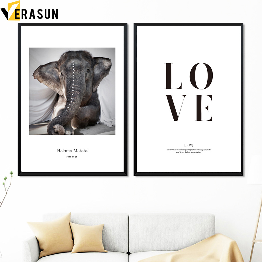 Baby Elephant Love Quotes Wall Art Canvas Painting Posters And Prints Nordic Poster Animal Wall Pictures For Living Room Decor Painting Calligraphy Aliexpress