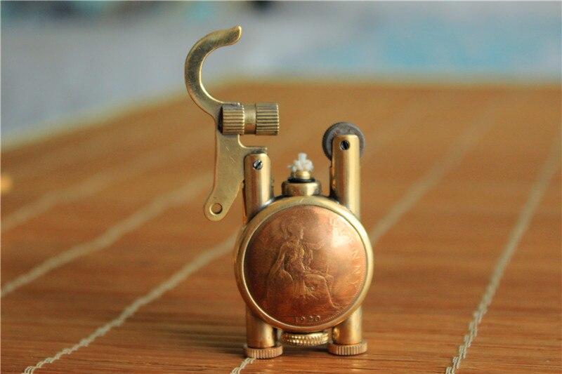 Handmade brass oil cigarette lighter Gift Random pattern about 40 60mm
