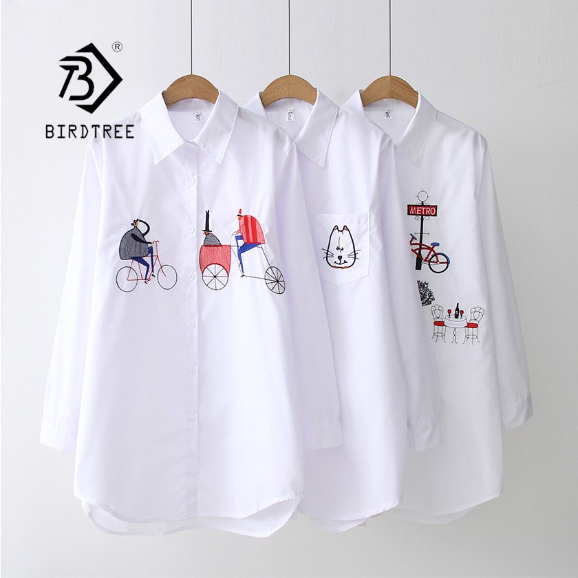 2019 NEW White Shirt Casual Wear Button Up Turn Down Collar Long Sleeve Cotton Blouse Embroidery Feminina HOT Sale T8D427M(China)