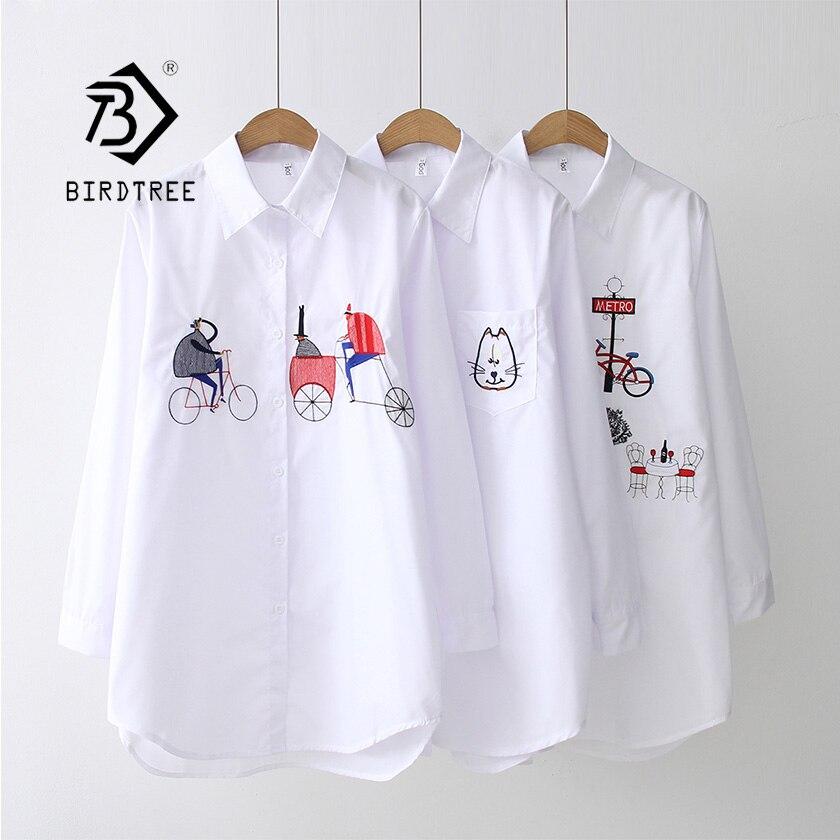 2019 NEUE Weißes Hemd Casual Tragen Taste Up Drehen Unten Kragen Langarm Baumwolle Bluse Stickerei Feminina HEIßER Verkauf T8D427M