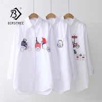 2019 nouvelle chemise blanche tenue décontracté bouton haut col rabattu manches longues coton Blouse broderie Feminina offre spéciale T8D427M