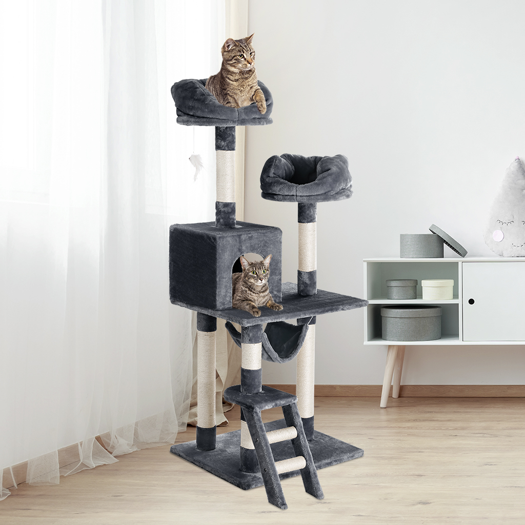 Finether 148 Cm High 5-tier Cat Tree Tower Furniture Kitten Playhouse Sisal Covered Scratching Posts Perches Platforms Ladders