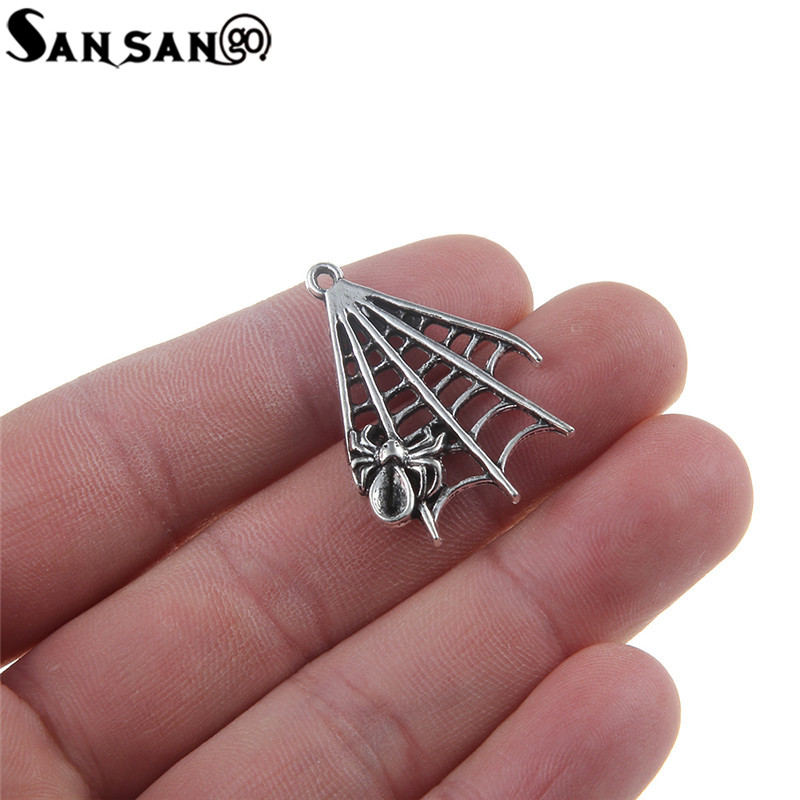 10pcs Vintage Silver Tone Alloy Fan-shaped Spiders Web Spiders Pendants Charms Fit DIY Jewellery Making Finding 2.8*2cm