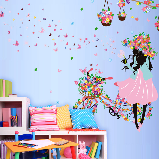 Flower girl butterfly bicycle wall sticker for kids rooms home decor wedding diy wall decals mural