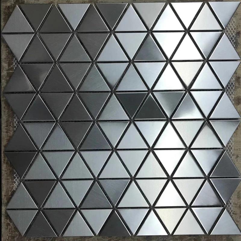 kualitas tinggi gosok segitiga perak hitam anti karat logam mosaik tile untuk ubin dinding dapur backsplash kamar mandi pancuran