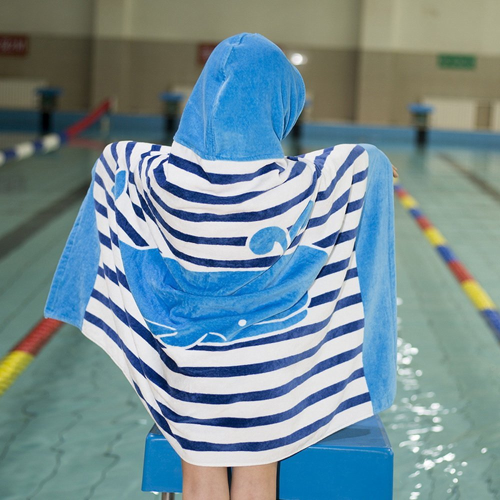 76*127cm Long-staple Cotton Kids Hooded Poncho Towel, Shark Undersea Cute Cartoon Beach Pool Bath Towel for Boys Girls Blue Gray