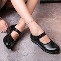 Mary Janes Flats Mulheres de Couro Preto Laço Gancho Plana Suaves Sapatos de Dança de Nova Moda Vestido de Festa Das Senhoras Da Menina Casual Zapatos