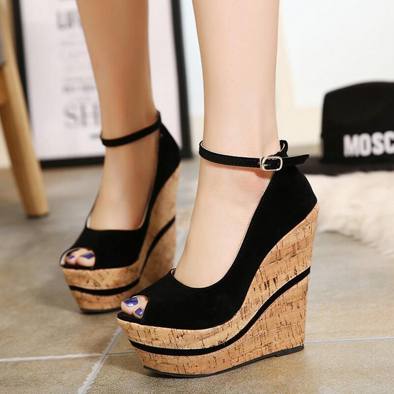 8fbfb216ff Mujer tacones 2016 nueva moda tacones altos mujeres bombas cuñas plataforma zapatos  de plataforma para mujer tacones altos zapatos de mujer en Bombas de las ...