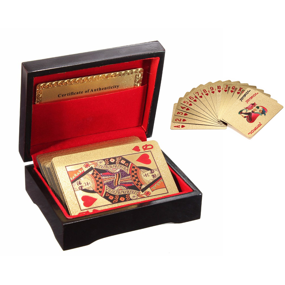 High quality certified pure 24 k carat novelty gold foil for Table 52 cards 2014