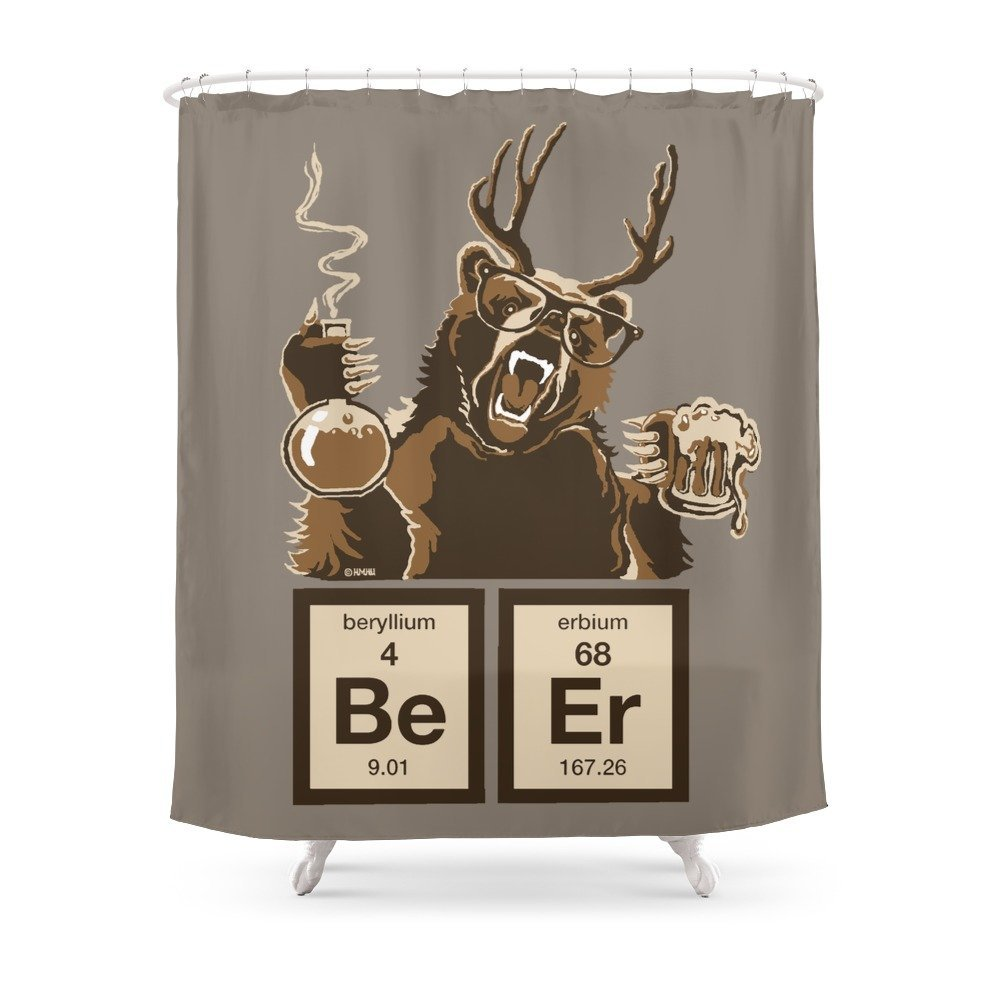 Funny Chemistry Bear Discovered Beer Shower Curtain Waterproof Polyester Fabric Bathroom Decor Multi Size Printed